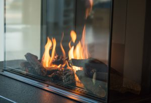 Gas Fireplace Burning