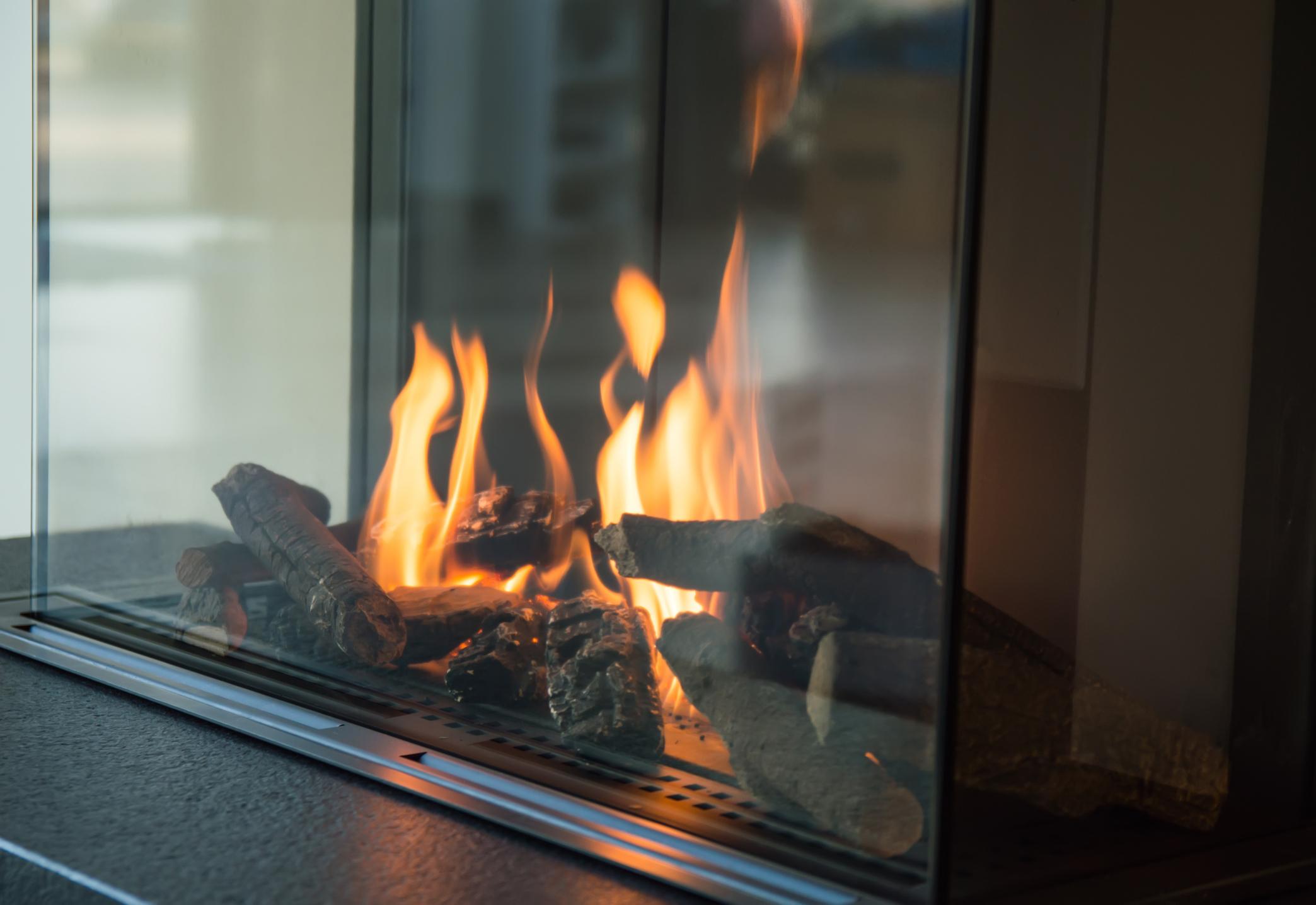 Gas Fireplace Burning