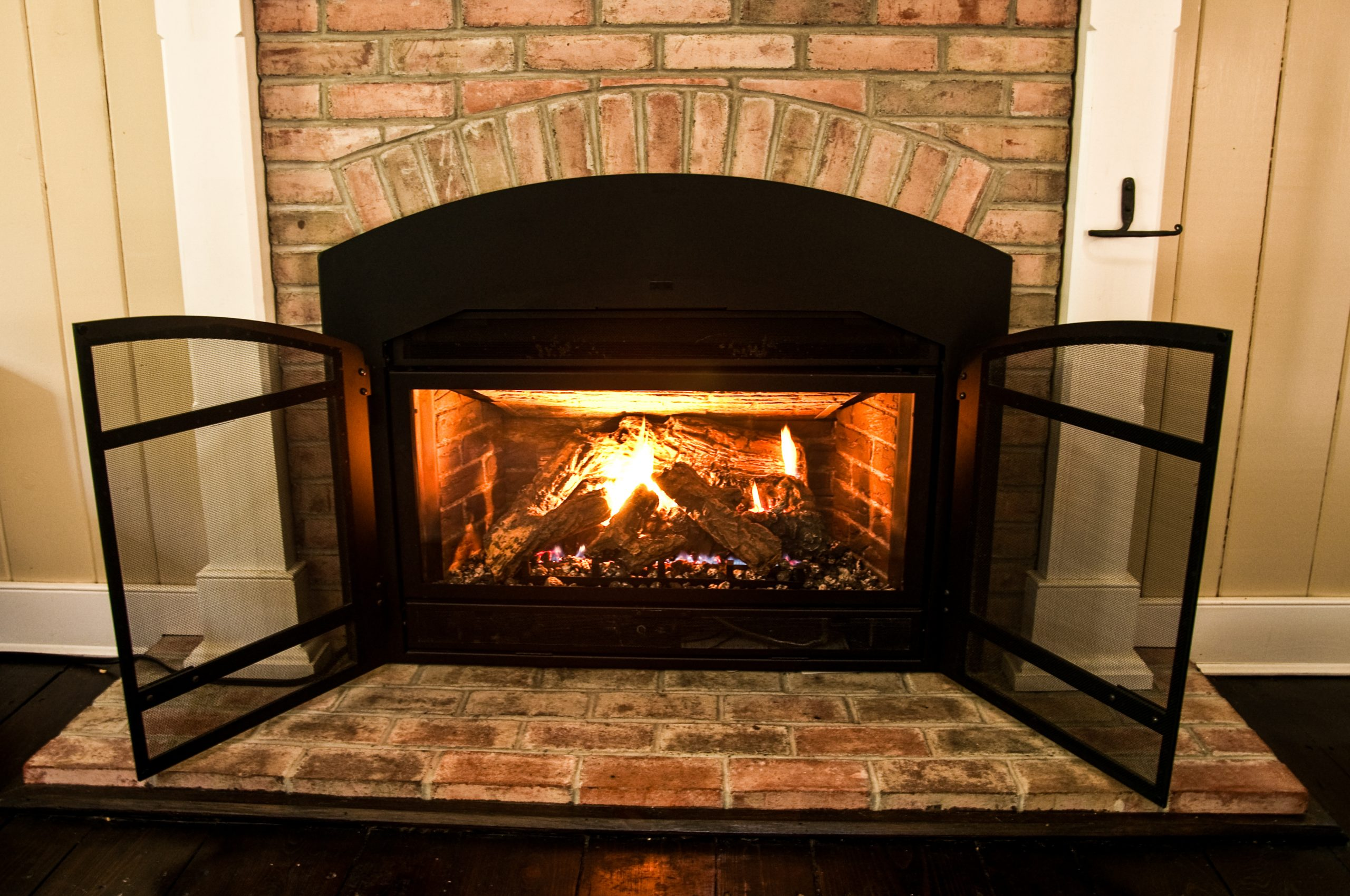 Gas Fireplace Insert on brick hearth