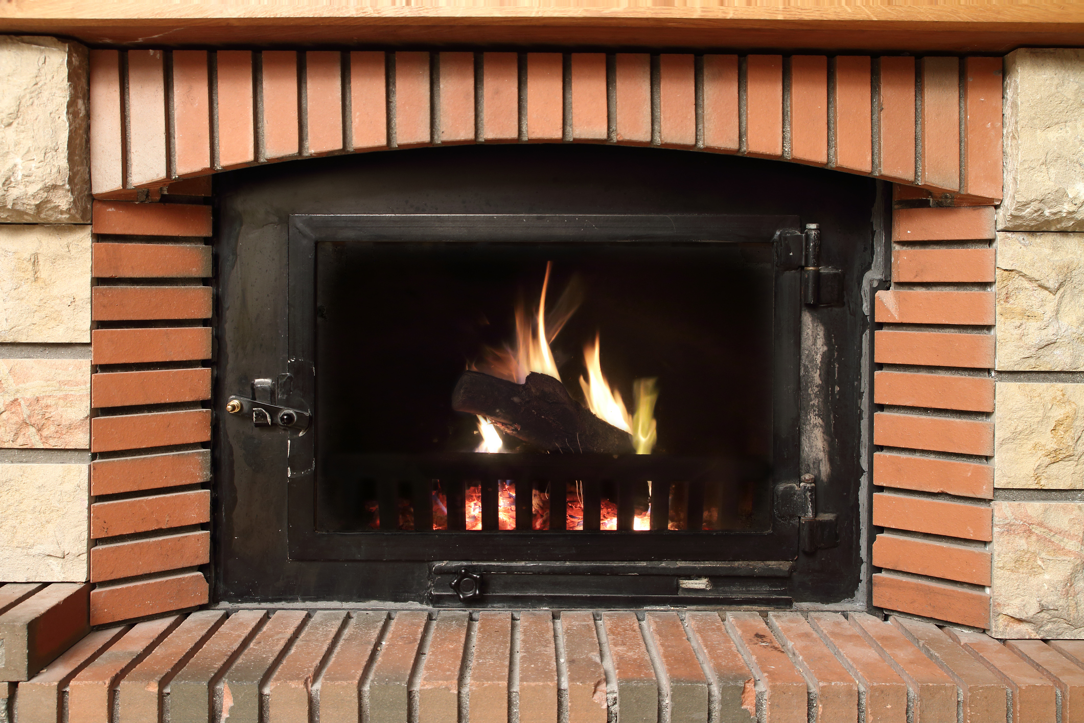 Gas Fireplace in brick