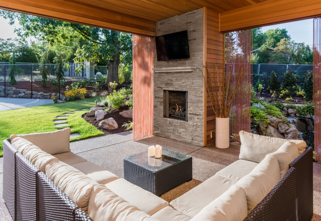 Outdoor Living space with fireplace